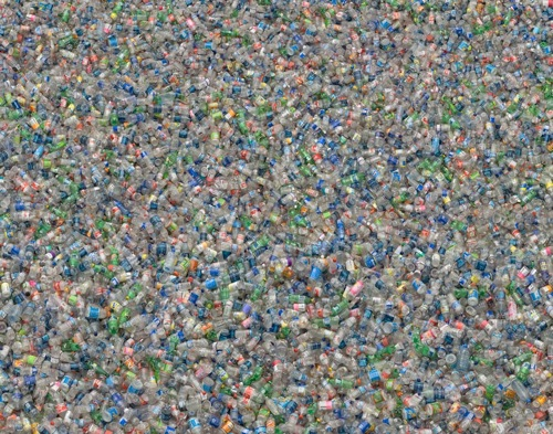 Plastic Bottles by Chris Jordan (partial zoom)